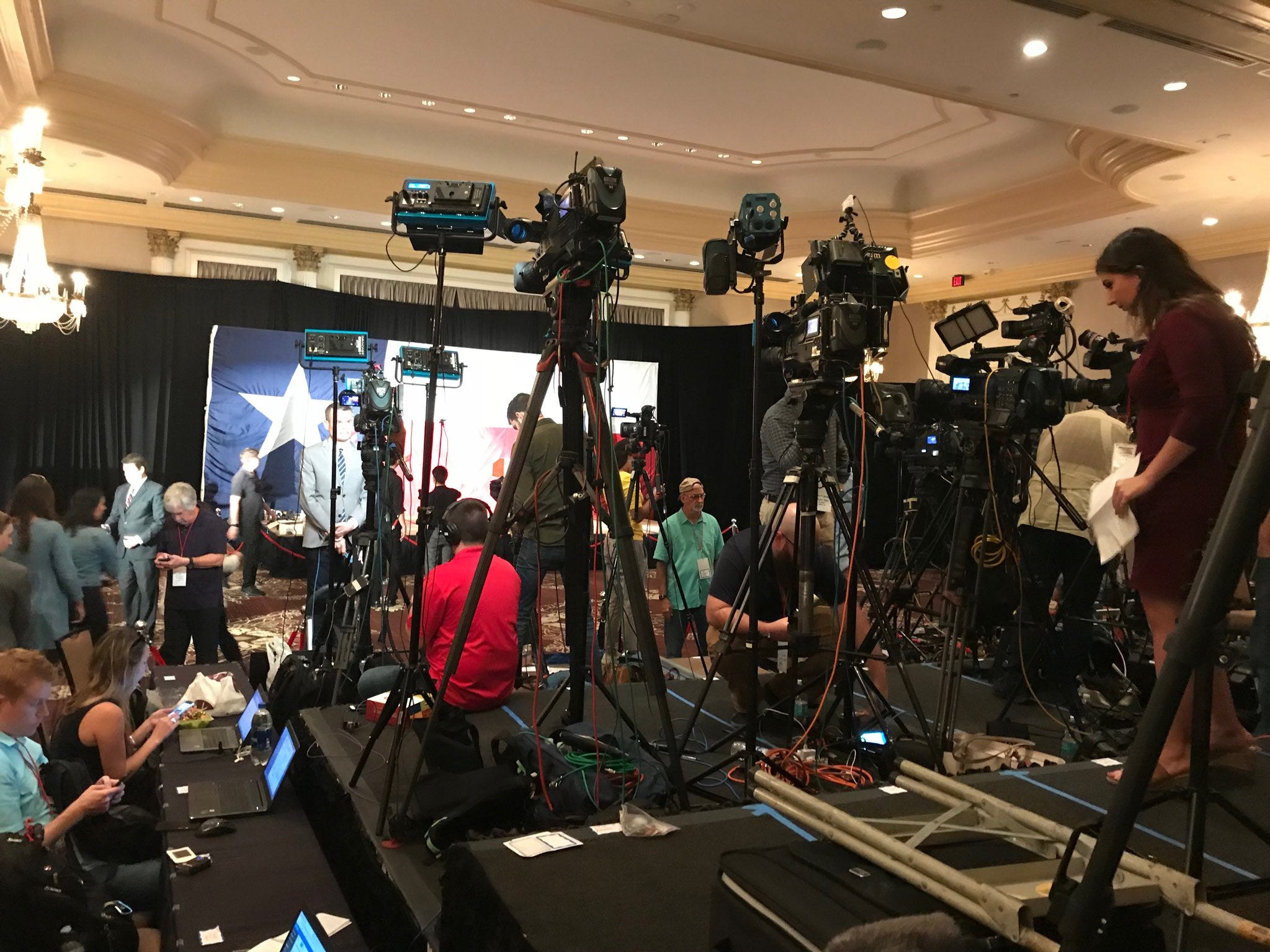 Media setting up in at the ballroom where the ⁦Ted Cruz post-election party will take place once the returns start streaming in for the Texas U.S. Senate race.
