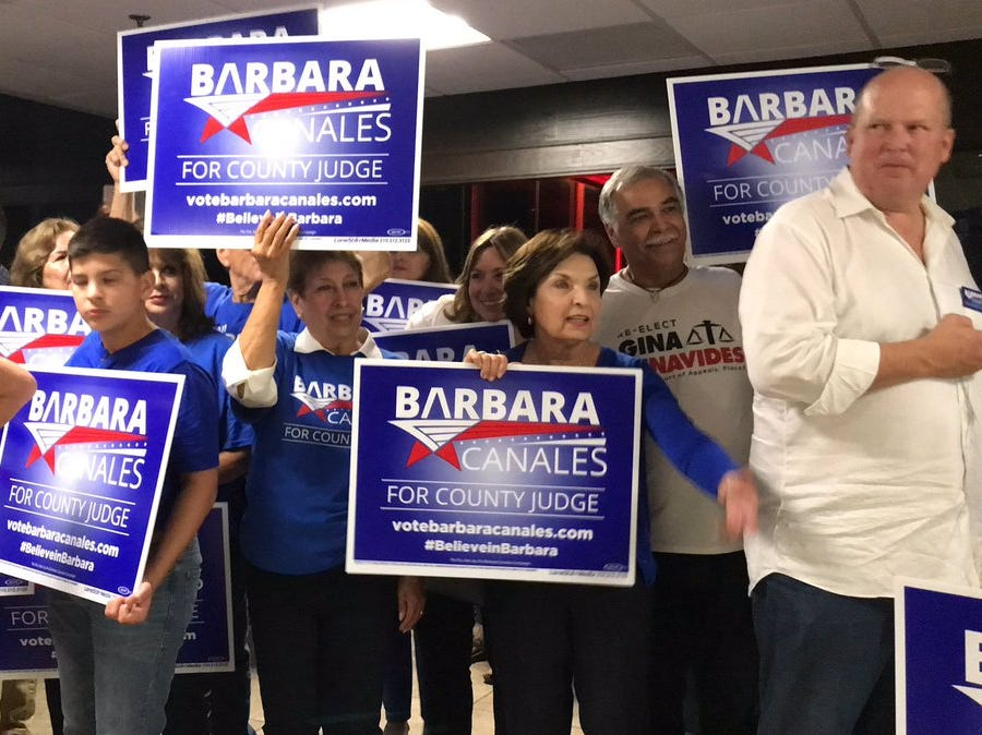 Supporters of Democrat Barbara Canales wait for her arrival at the Best Western in Corpus Christi on Tuesday, Nov. 6, 2018.