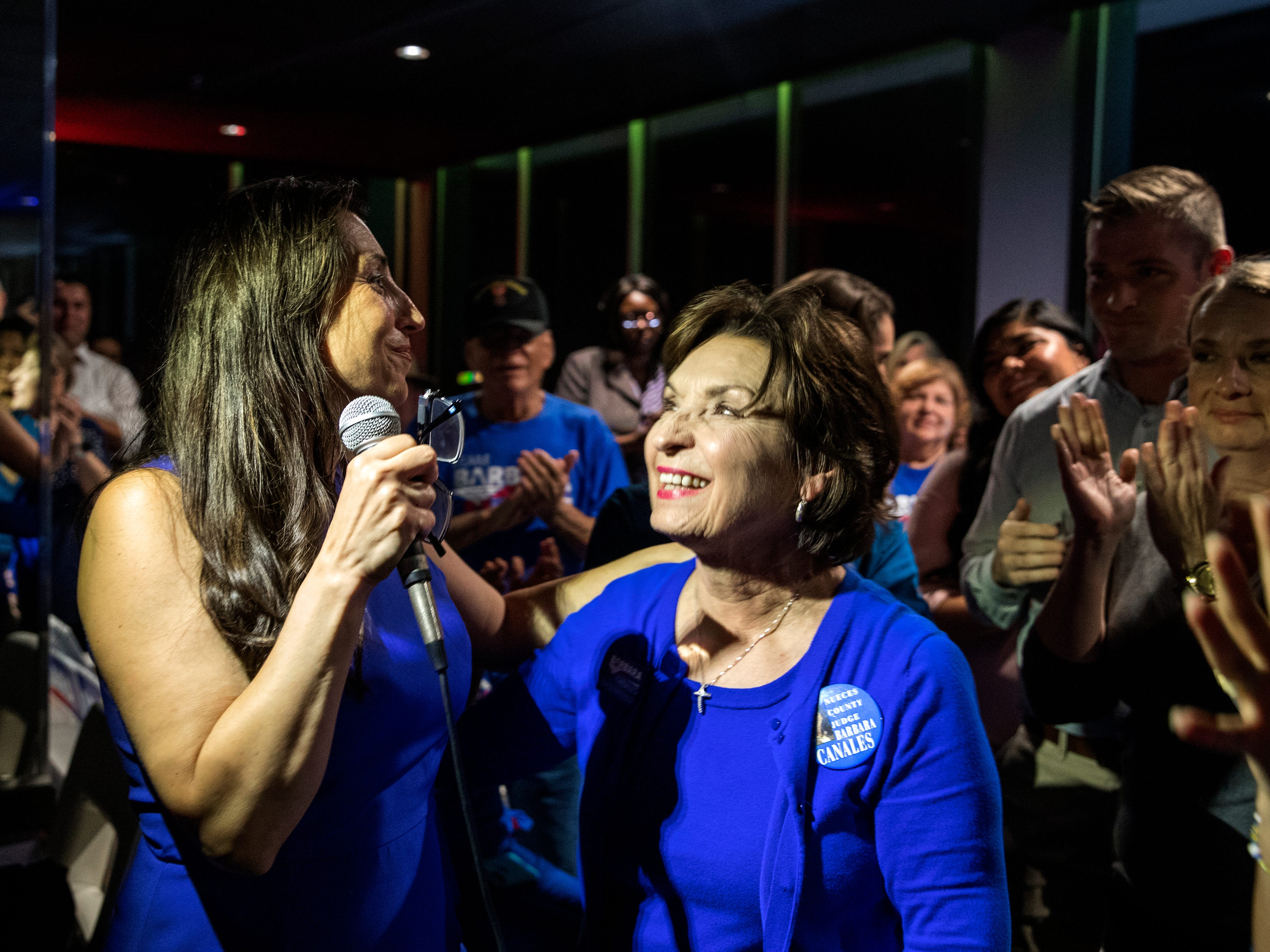 Nueces County Judge-elect Barbara Canales (left) thanks her mother Yolanda Canales while giving her acceptance speech during her watch party at the Best Western on Tuesday, November 6, 2018.
