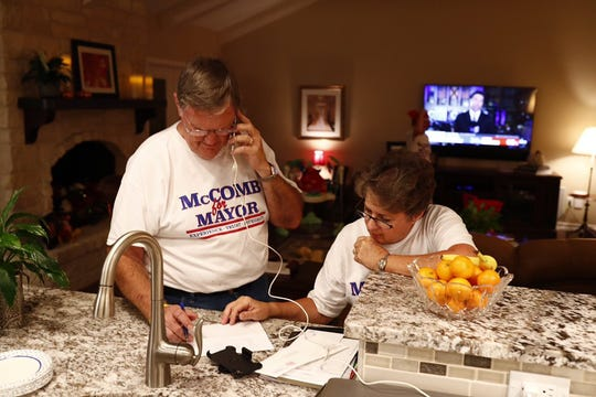 Corpus Christi Mayor Joe McComb receives a phone call about his lead in early voting on Tuesday, Nov. 6, 2018.