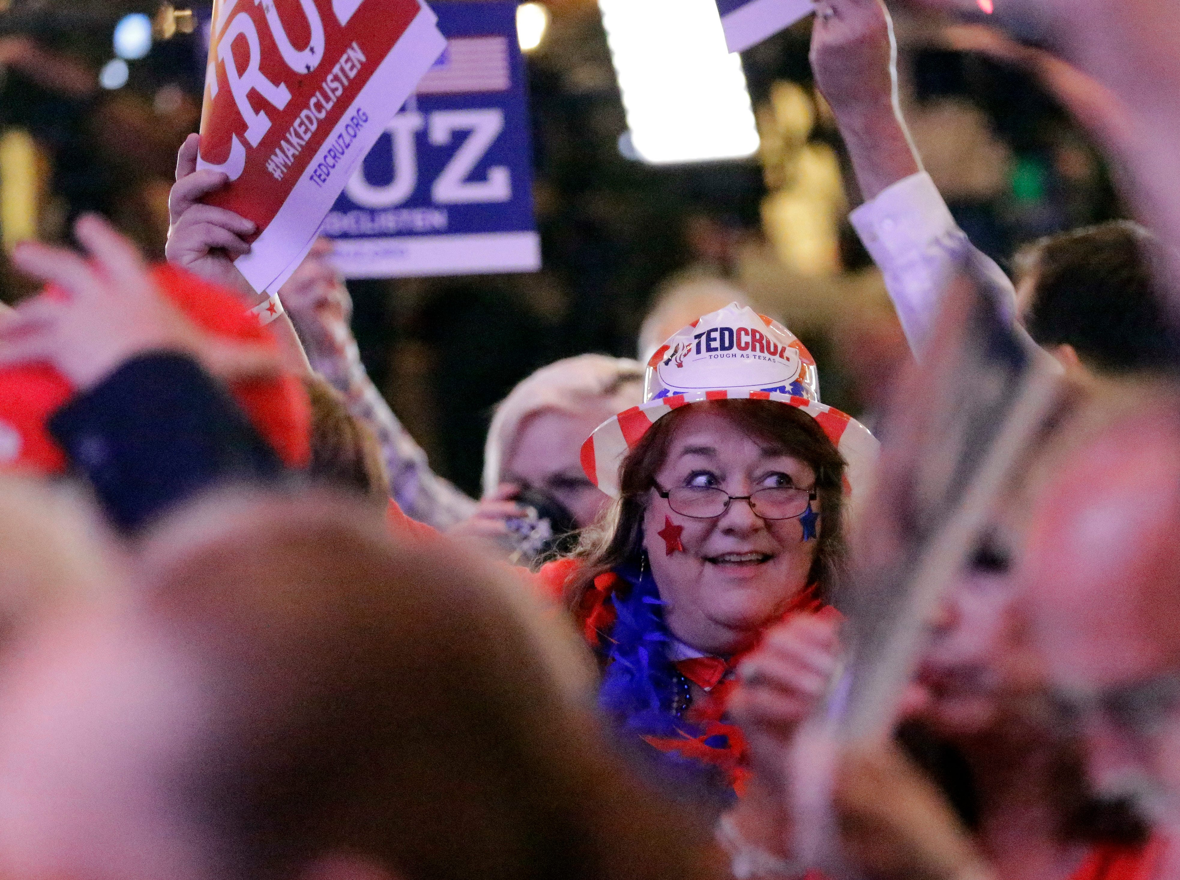 Supporters cheer during an election night party for Sen. Ted Cruz, R-Texas, Tuesday, Nov. 6, 2018, in Houston. (AP Photo/David J. Phillip)