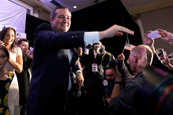 Sen. Ted Cruz, R-Texas, greets supporters at his election night party on Tuesday, Nov. 6, 2018, in Houston, after winning re-election.. (AP Photo/David J. Phillip)