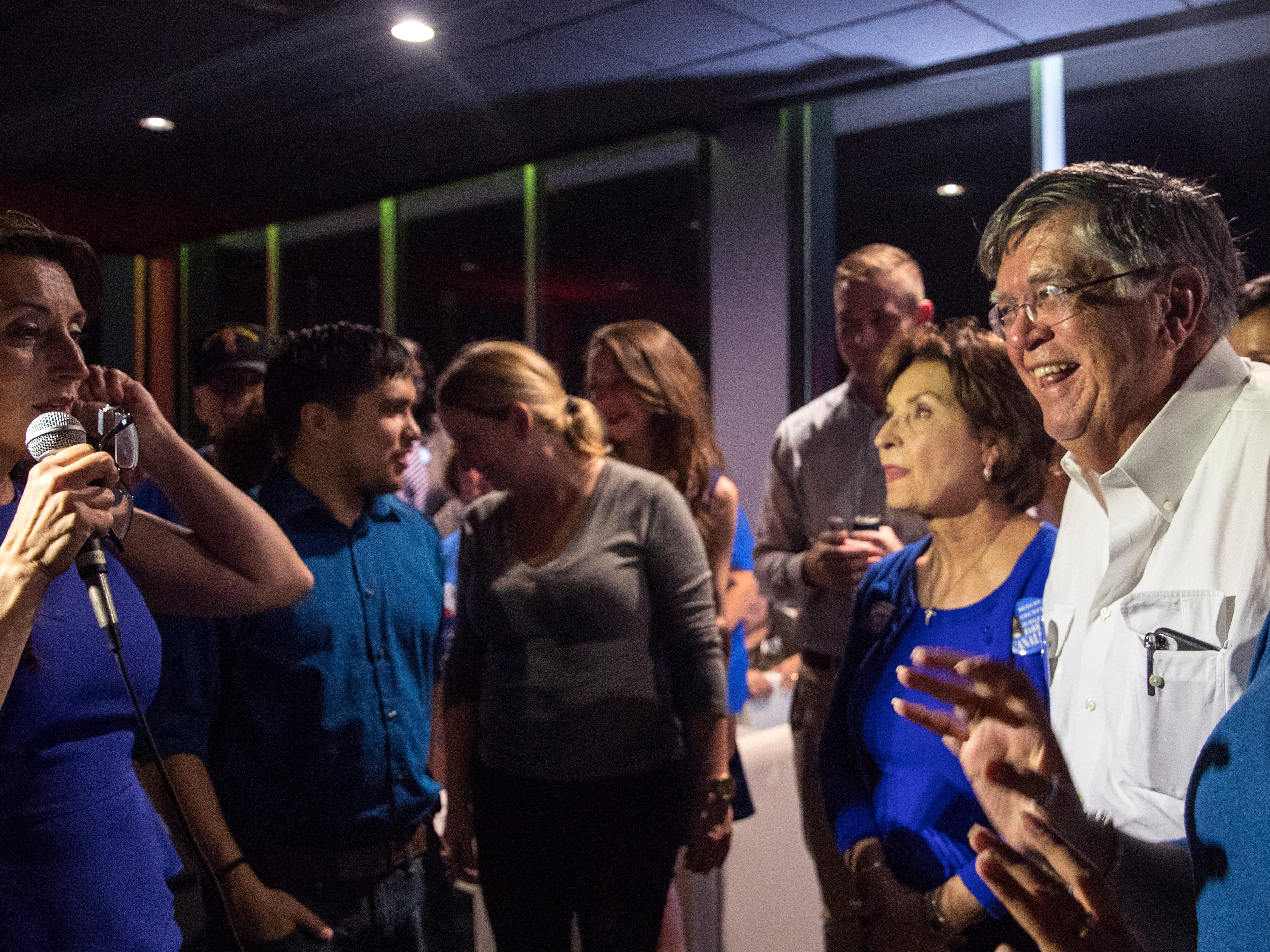 Nueces County Judge-elect Barbara Canales (from left) thanks her mother Yolanda Canales and father Tony Canales while giving her acceptance speech during her watch party at the Best Western on Tuesday, November 6, 2018.