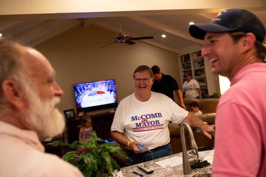 Corpus Christi mayor Joe McComb seeking re-election jokes as reported numbers putting him under 51% on Tuesday, Nov. 6, 2018.