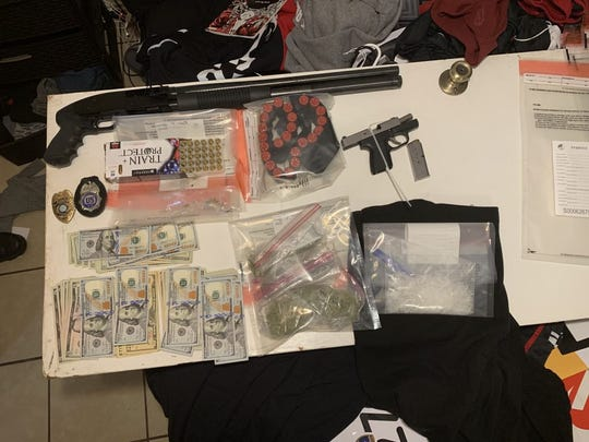 Aransas Pass found firearms, a substance believed to be crystal meth and marijuana.