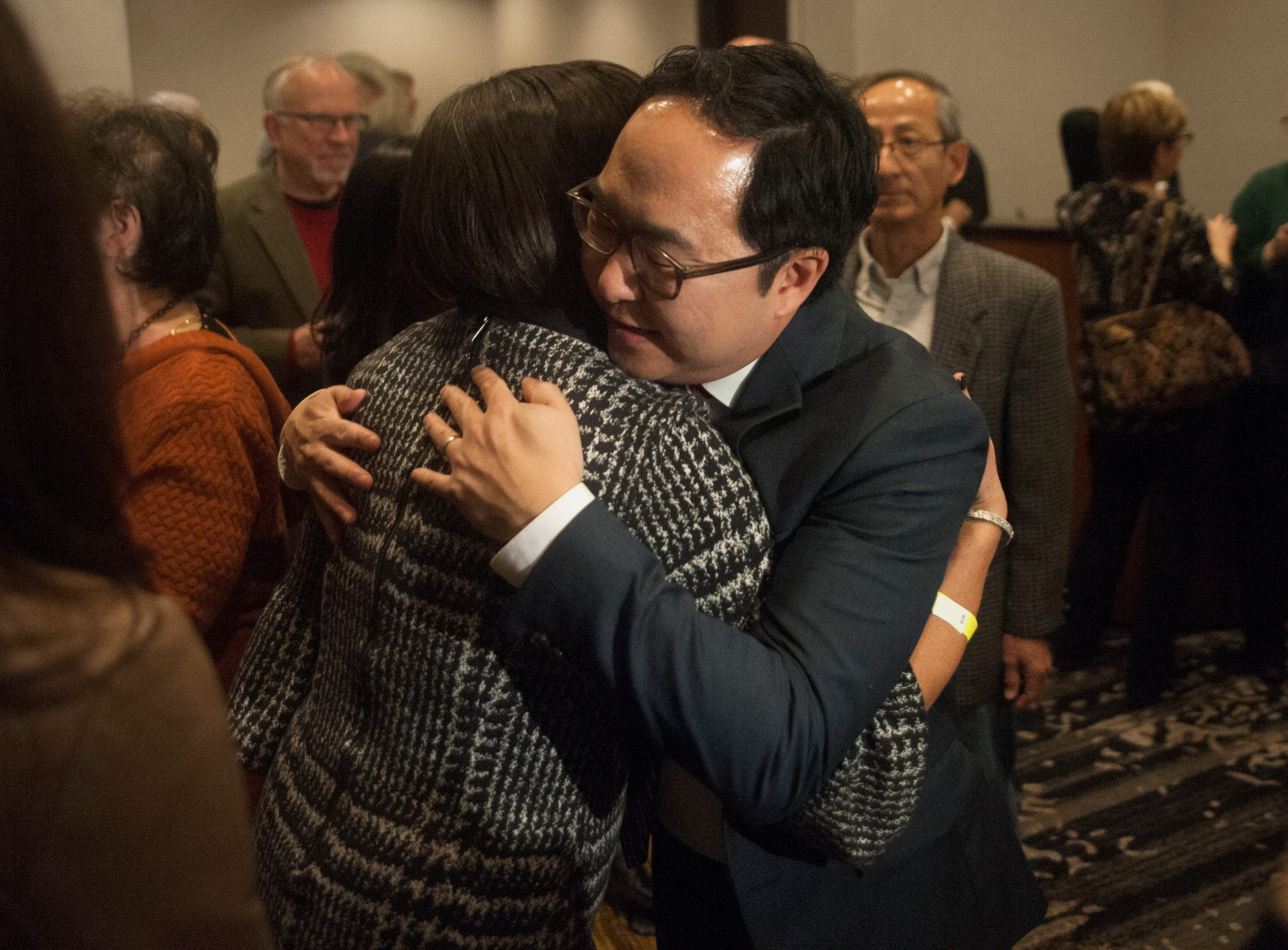 Democratic 3rd Congressional District candidate Andy Kim greets supporters at his election night headquarters,  the Westin Mount Laurel in Mount Laurel, NJ, on Tuesday, November 6, 2018.