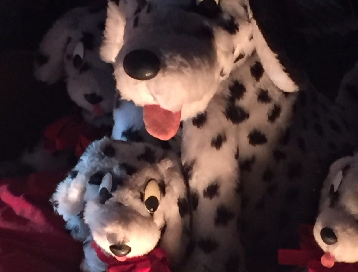 Dalmatians are in the holiday spirit at  G Boys Animation Wonderland at McNaughton's Garden Center in Cherry Hill.