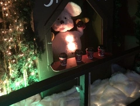Chilly? Hot cocoa courtesy of a country mouse at G Boys Animation Wonderland at McNaughton's Garden Center in Cherry Hill.
