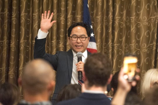 Democratic 3rd Congressional District candidate Andy Kim speaks to supporters at his election night headquarters, the Westin Mount Laurel in Mount Laurel, NJ, on Tuesday, November 6, 2018.   A winner of the race was not named on Tuesday night.