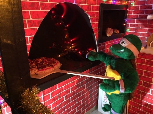 It's a Ninja pizza shop at G Boys Animation Wonderland at McNaughton's Garden Center in Cherry Hill.