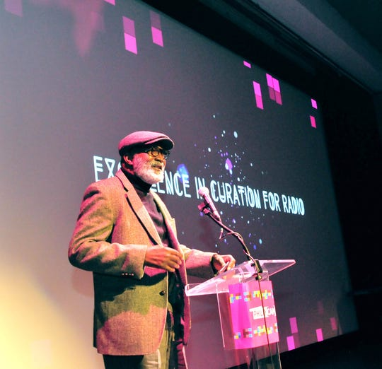 H. Alonzo Jennings of Willingboro speaks at Philadelphia's CAMMY Awards for public-access broadcasting. Jennings won an award for producing work that explores jazz history.