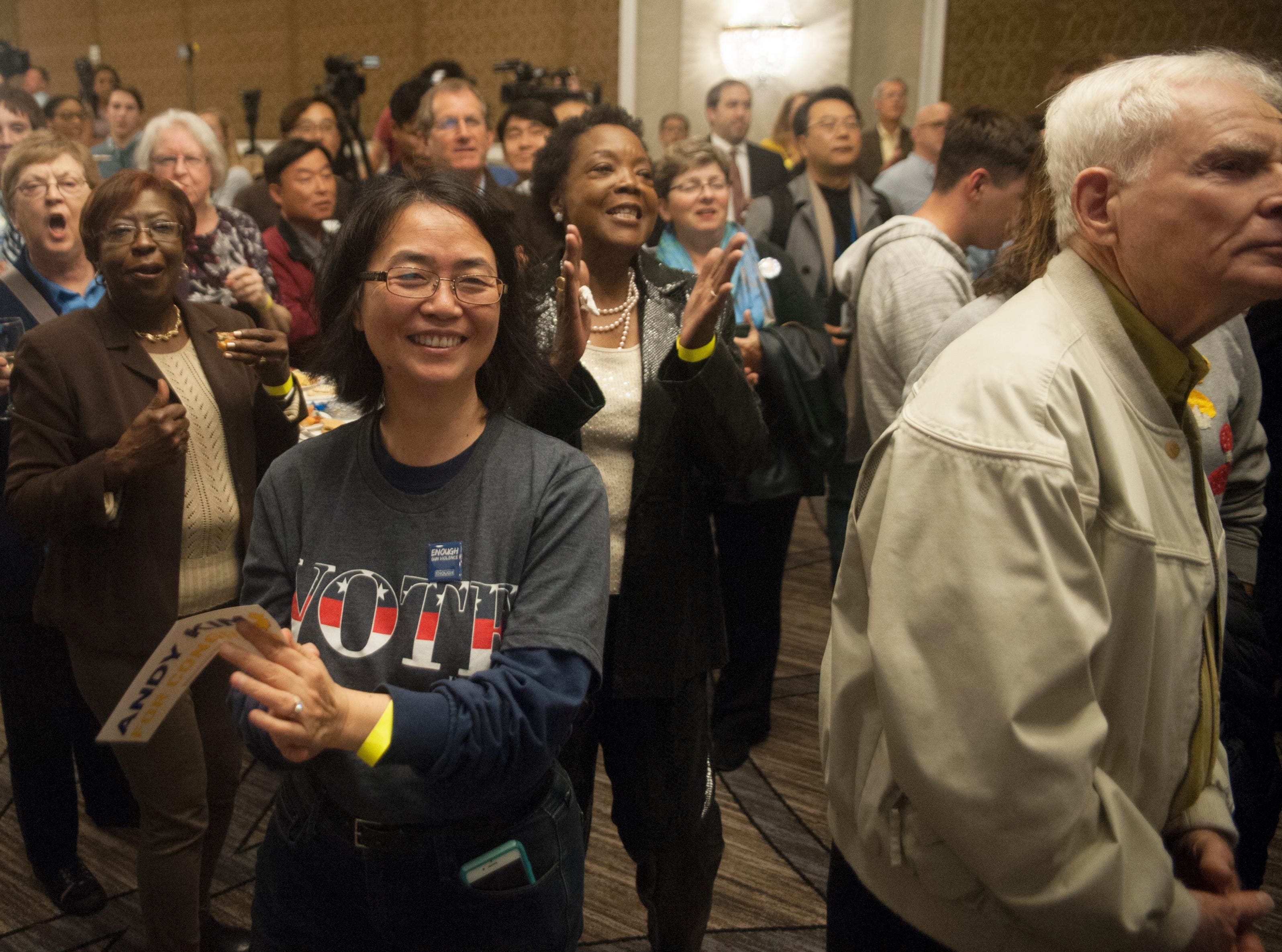 Supporters of Democratic 3rd Congressional District candidate Andy Kim watch election results at Kim's election night headquarters, the Westin Mount Laurel in Mount Laurel, NJ, on Tuesday, November 6, 2018.