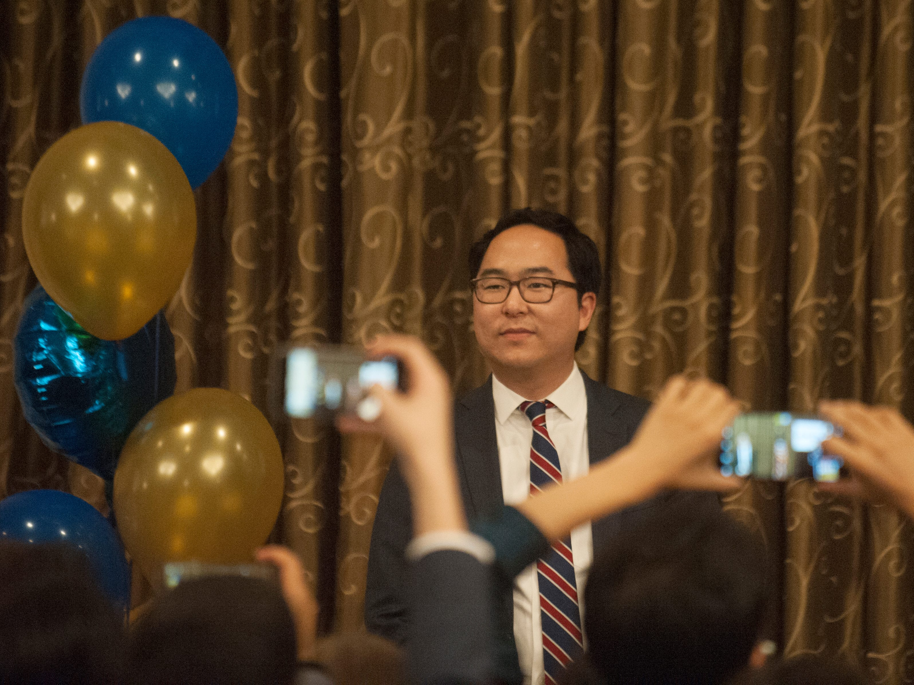 Democratic 3rd Congressional District candidate Andy Kim prepares to speak to supporters at his election night headquarters,  the Westin Mount Laurel in Mount Laurel, NJ, on Tuesday, November 6, 2018.   A winner of the race was not named on Tuesday night.