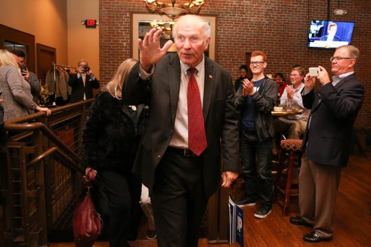 Rep. Steve Chabot, R-Ohio, arrives as an Election Night party following his win in the 1st congressional district, Tuesday, Nov. 6, 2018, at The Backstage Event Center in downtown Cincinnati.