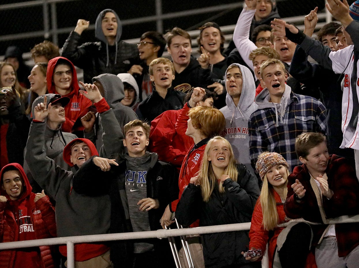 Indian Hill fans cheer on the Braves during their state semifinal against Big Walnut, Tuesday, Nov. 6, 2018.