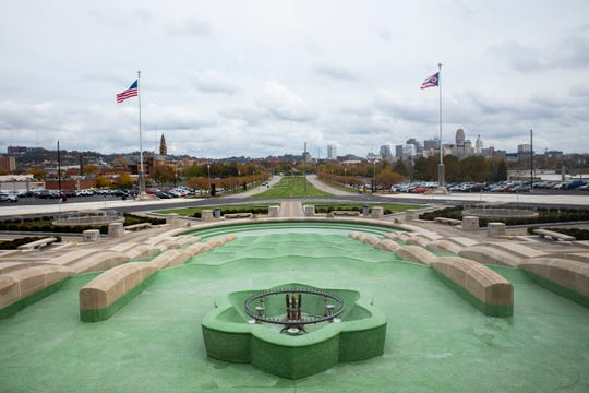 Construction crews cleaned and restored the fountain in front of the Cincinnati Museum Center at Union Terminal. There are more than 2,300 pieces of stone in the fountain plaza.