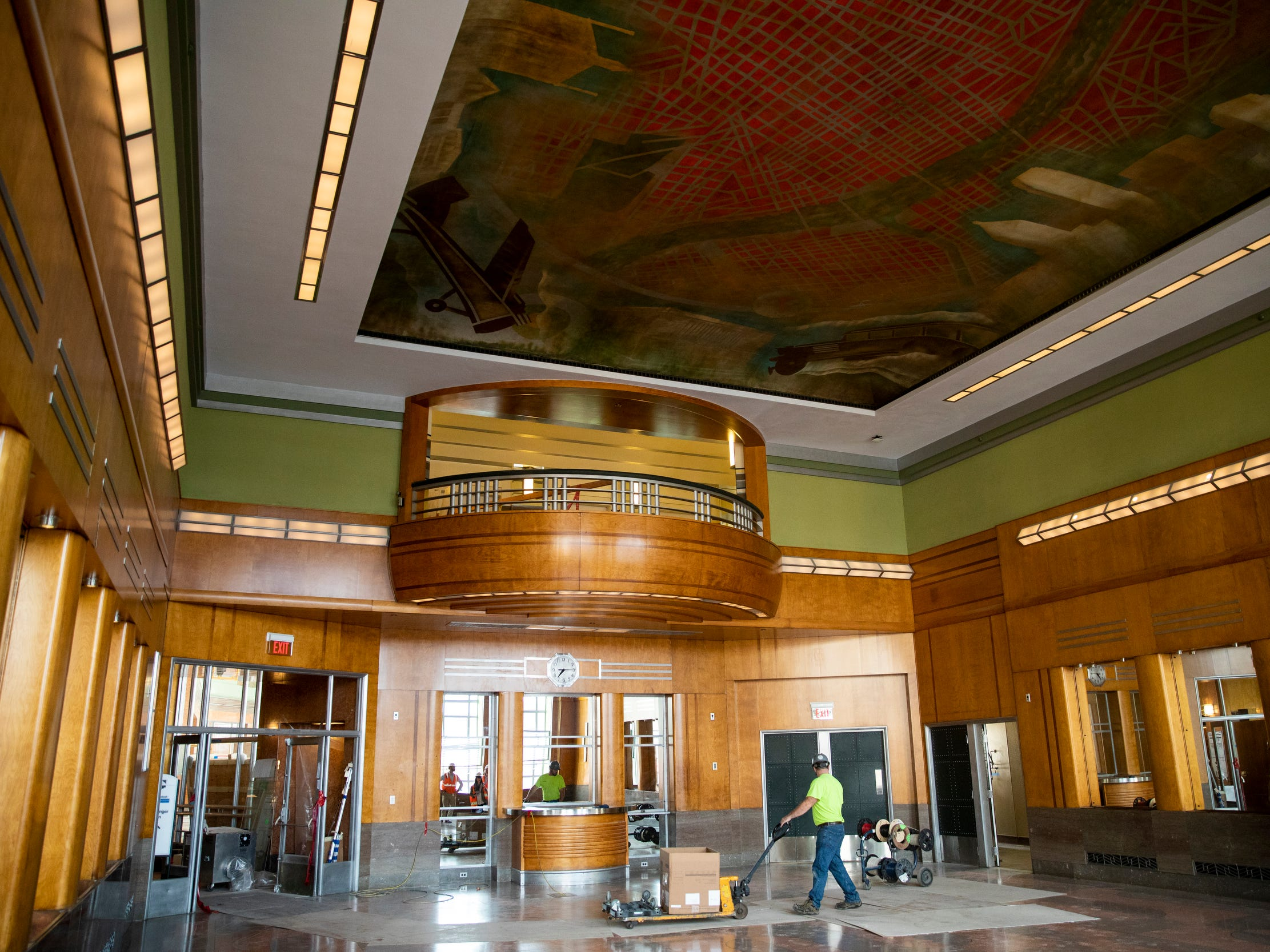 The dining room of The Cincinnati Museum Center at Union Terminal has been restored as part of the $228 million project. Art conservators cleaned the ceiling murals.