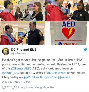 Bystanders were able to save a Washington D.C. area man who had a heart attack Tuesday while standing in line to vote.