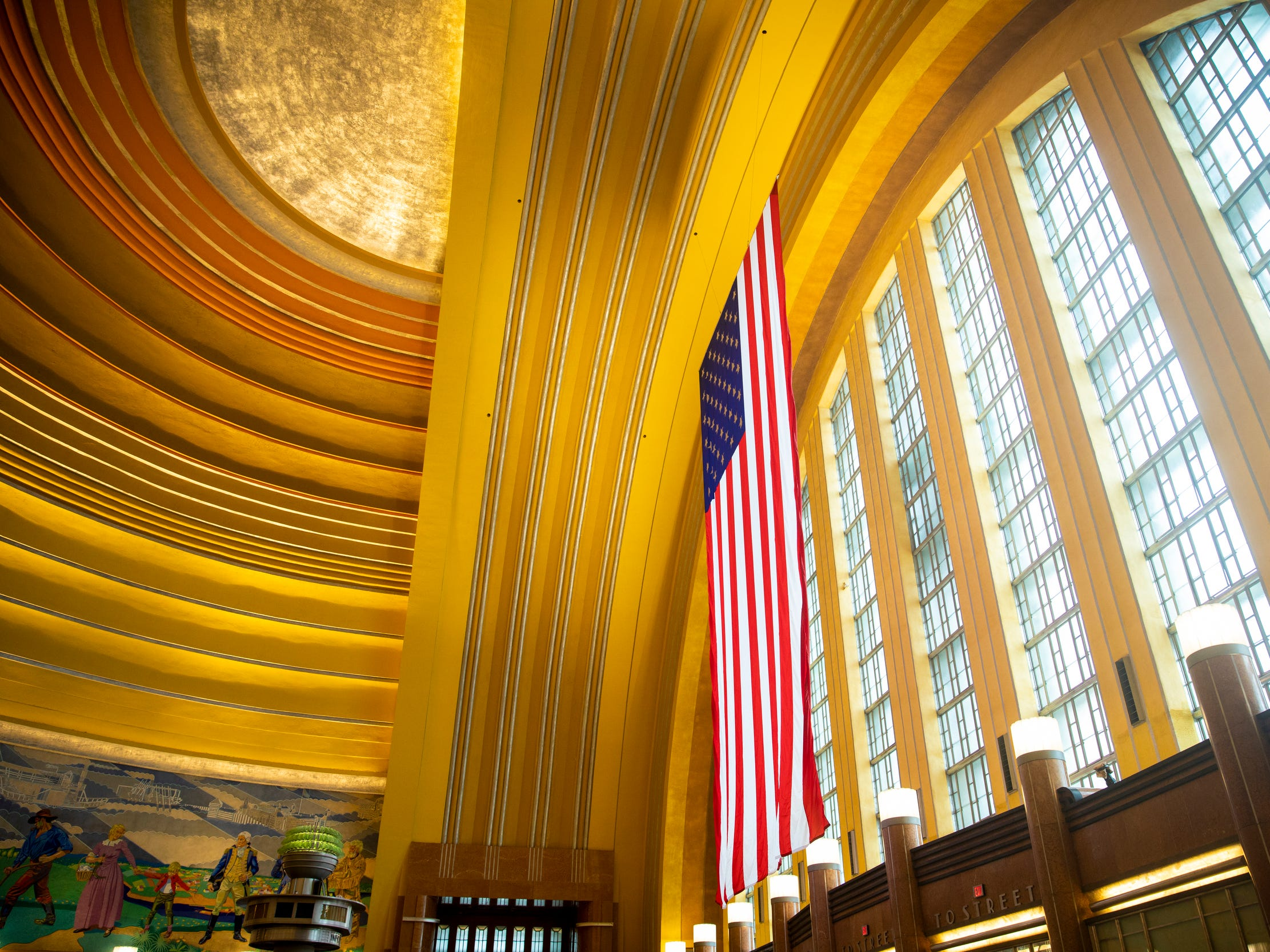 Construction crews removed and restored every pane of glass in the front of the Cincinnati Museum Center at Union Terminal during the $228 million restoration project. Crews also added new storm panels and portal glazing.