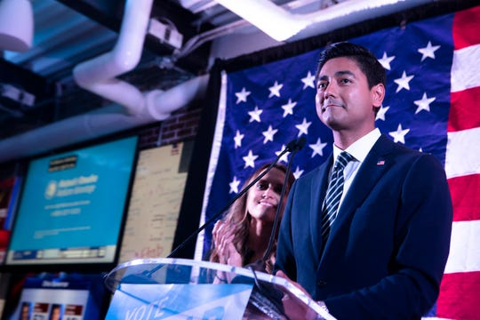 Aftab Pureval, Democrat candidate for Ohio's 1st District, speaks during Aftab Pureval's  election party on Tuesday, Nov. 6, 2018, in Cincinnati.