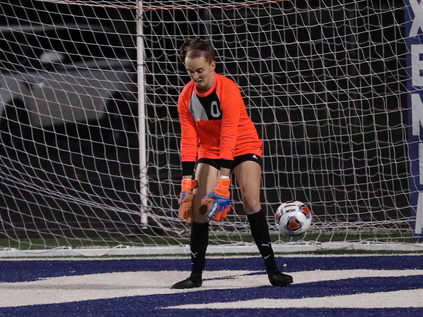 Indian Hill goalie Kate Marrs stops a shot attempt during the Braves' state semifinal against Big Walnut, Tuesday, Nov. 6, 2018.