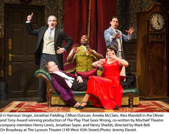"""The Broadway cast of """"The Play That Goes Wrong."""" It's at the Aronoff Nov. 27-Dec. 2 as part of the Broadway in Cincinnati series. Seen here are (from left) Harrison Unger, Jonathan Fielding, Clifton Duncan, Amelia McLain and Alex Mandell."""