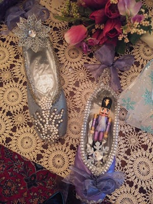 Retired ballet shoes decorated with nutcrackers will be on display Dec. 15 and Dec. 16 at the Greater Milford Area Historical Society's holiday open house at the Promont museum in Milford.