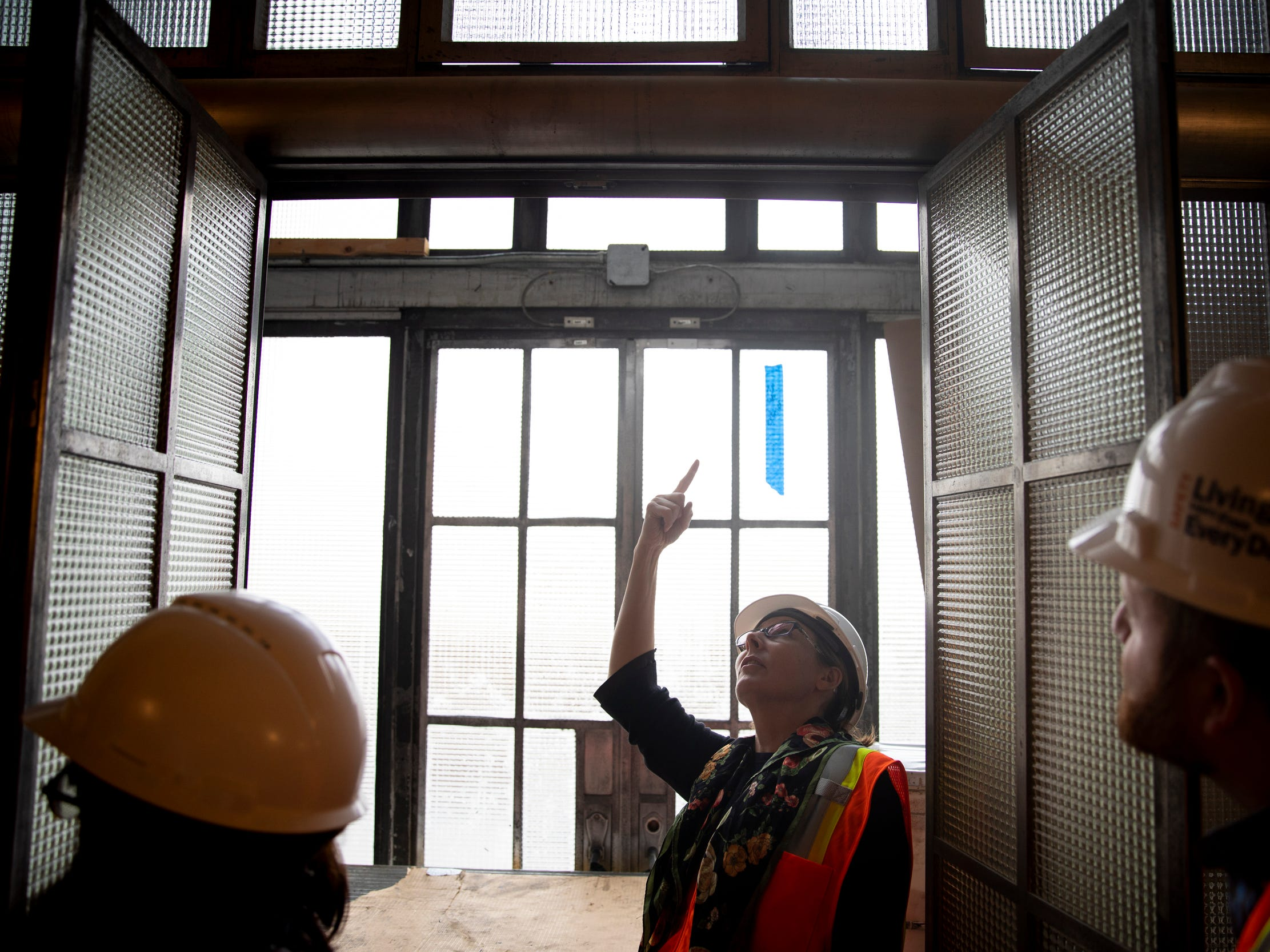 Elizabeth Pierce, President & CEO of The Cincinnati Museum Center, gives a tour of the $228 million restoration project of Union Terminal. This is the first structural restoration in the building's 85-year-old history.