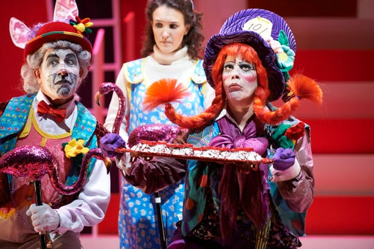 """Ensemble Theatre Cincinnati's annual holiday show for 2018 is a revised and re-energized version of 2012's production of """"Alice in Wonderland."""" Seen in this 2012 photo are (from left) Michael G. Bath, Sarah M. White and Shannon Rae Lutz."""