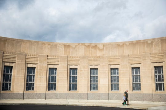 Construction crews extensively cleaned the limestone of The Cincinnati Museum Center at Union Terminal.