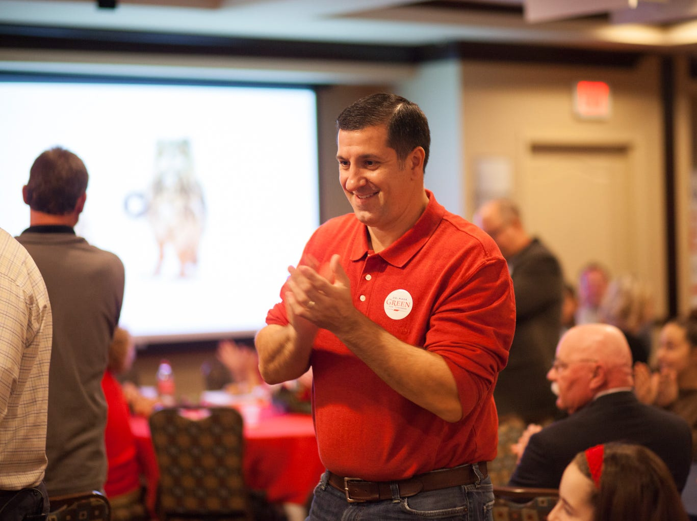 Joe Trovato celebrates as early results for the Tennessee Republican candidates come in on Tuesday.