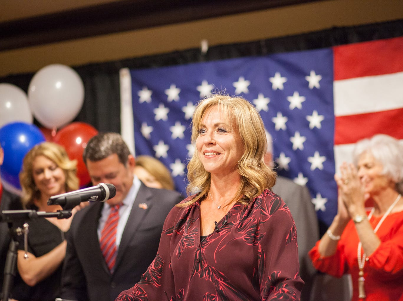 Mark Green's Wife Camilla introduces the senator after he won his race at the watch party on Tuesday.