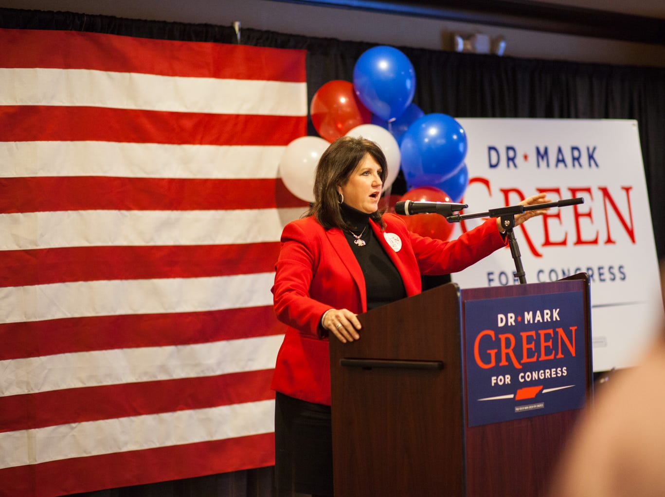 Sharon Grimes of the Montgomery County Republican Party welcomes the watch party attendants on Tuesday.