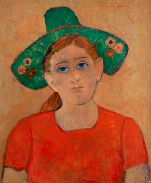 "Gershon Benjamin, ""Green Hat,"" (c. 1941) oil on canvas, 24"" x 20"""