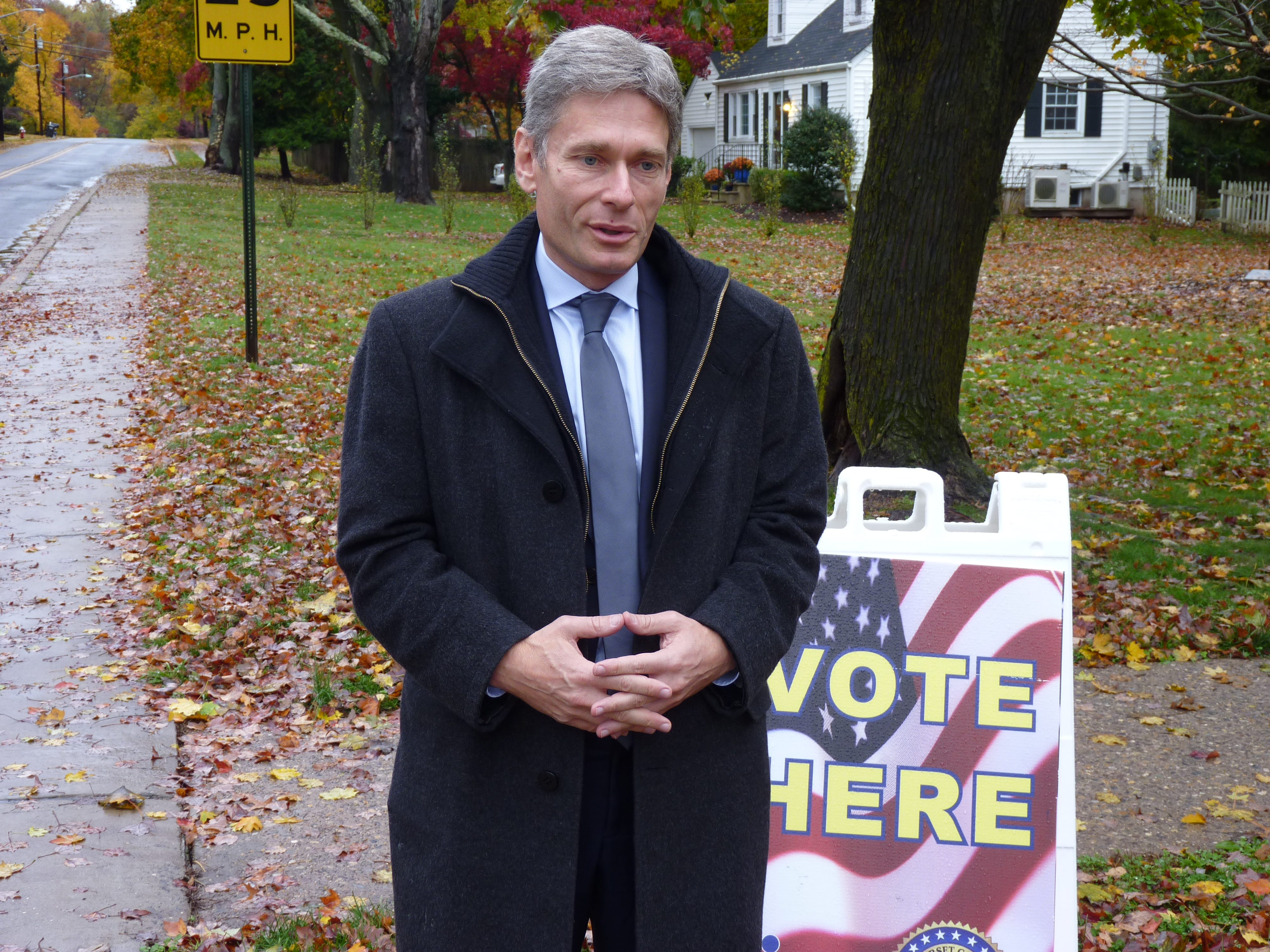 Congressman-elect Tom Malinowski outside a polling station in Rocky Hill.