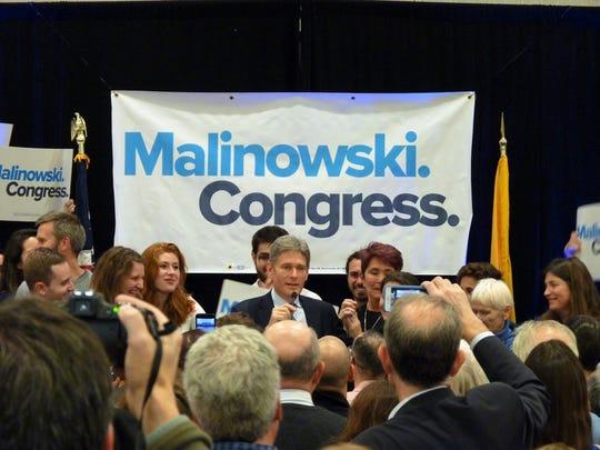 Democratic Congressman Tom Malinowski at his victory event in Berkeley Heights on Nov. 6, 2018.