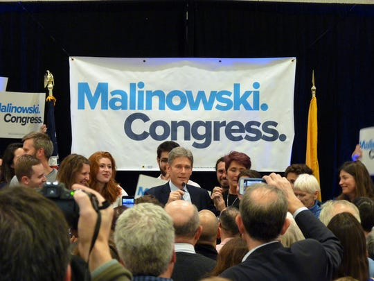 Democratic Congressman Tom Malinowski at his victory event in Berkeley Heights on Nov. 6, 2018.