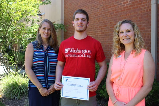 Declan McParland of of Bernardsville, who received the John Fanning Scholarship, pictured with Cheryl Tuturice, left, Executive Branch Director of Somerset Hills YMCA, and Jes Bruno, Associate Branch Executive Director of Somerset Hills YMCA.