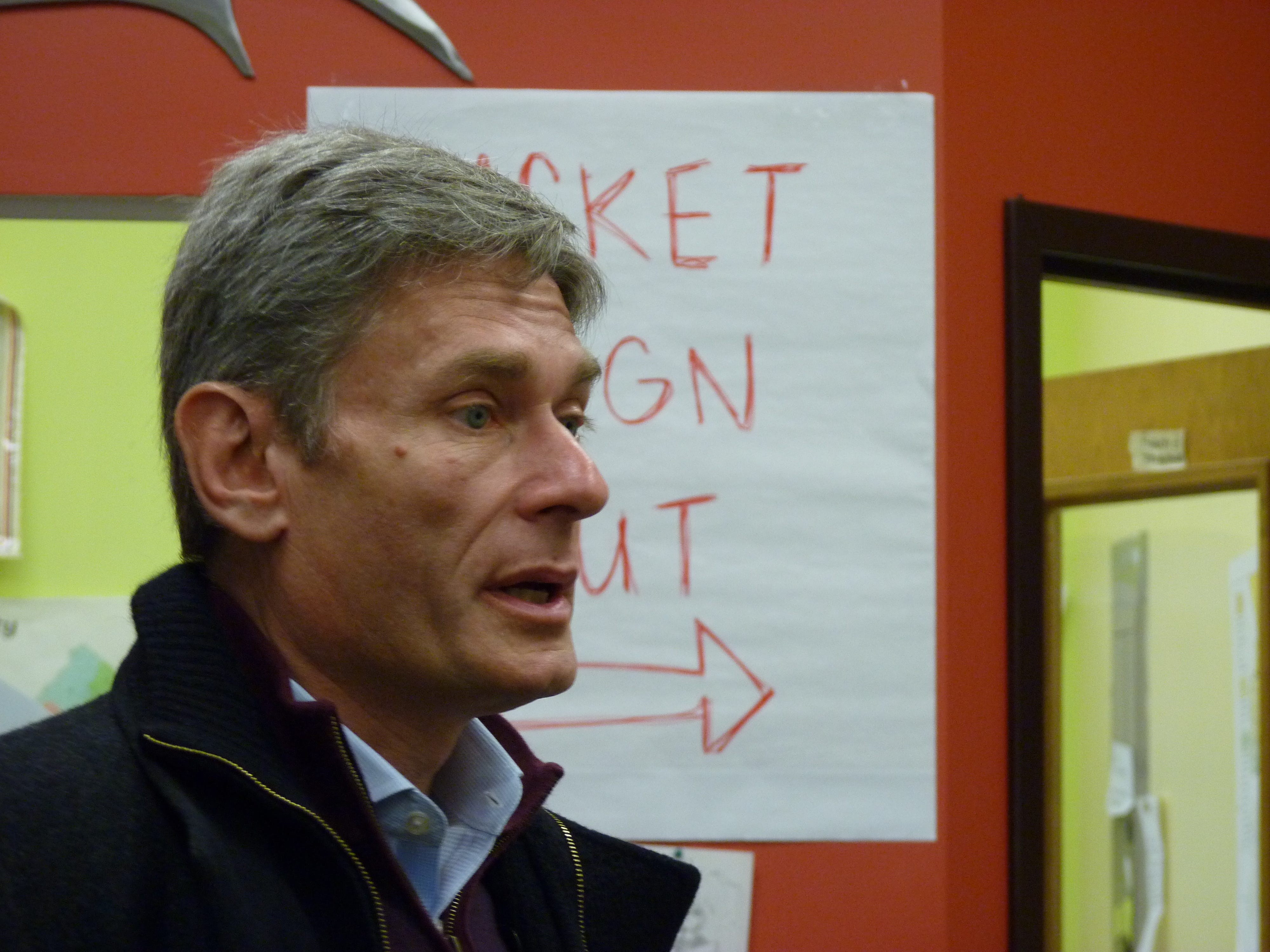 Congressman-elect Tom Malinowski at a campaign phone bank in Martinsville.