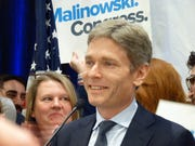 Tom Malinowski at his victory event on Election Night.