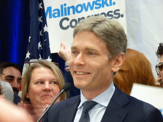 Democrat Tom Malinowski at his victory event on Election Night Nov. 6, 2018 after beating Rep. Leoanrd Lance for New Jersey's 7th Congressional District.