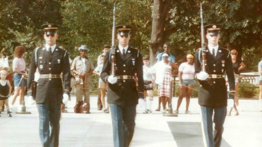 For Somervillenative and Army veteran Specialist 4th Class Kevin Donovan (far left), there is adeep connection between veteransand his tourat the Tomb of the Unknown Soldier at Arlington National Cemetery. A member of The Old Guard, Donovan servedat the Tomb for almost threeyears, from October1981to August 1984.