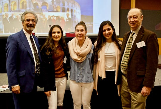 Left to right: Robert DiBiase, Chairman of the NJ Italian Heritage Commission, the three Garibaldi Award Winners, Liliana Leuzzi of Cliffside Park, the Foundation's photographer who is studying Italian in college, Kayla Sleeper of Whippany Park, Alessia Lombardi of Lyndhurst and Prof Sil io Laccetti of the Silvio Laccetti Foundation.