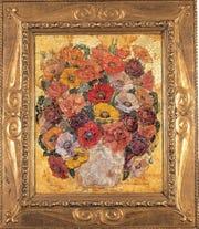 "M. Elizabeth Price, ""Decoration - Silver Jar,"" (c. 1925) oil and gold leaf on board, 30"" x 24"""