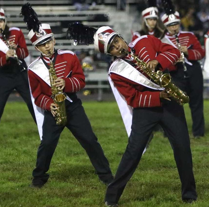 Co-Drum Major Shakthi Boobalan leads one of the many dance moves incorporated into the show.