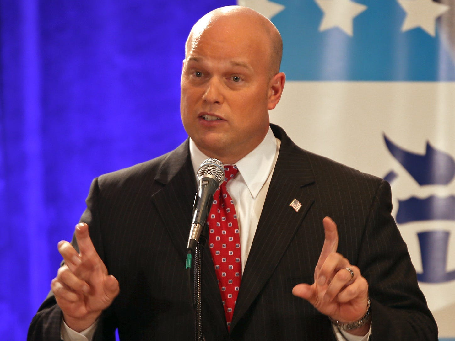 From October 2013: Matt Whitaker during a debate among Republican candidates for U.S. Senate held at Drake University in Des MOines.