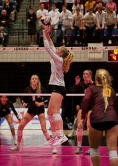 Ankeny's Phyona Schrader sets the ball during the state quarterfinals Tuesday in Cedar Rapids.