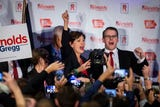 Kim Reynolds gives a speech after being reelected as Iowa's Governor.