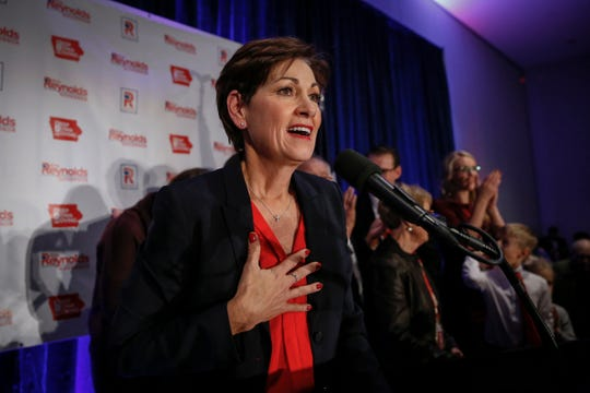 Gov. Kim Reynolds gives her victory speech at the Hilton Downtown Des Moines Nov. 6 after beating Democrat Fred Hubbell in Iowa's gubernatorial election.