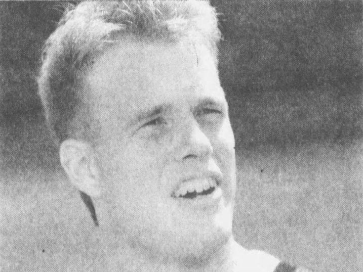 From September 1992: This photo ran with a story in the Des Moines Register sports pages featuring Iowa Hawkeyes tight end Matt Whitaker, who was playing football while going to law school.